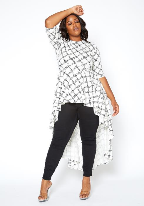Asoph Plus Size Gridline Print High Low Peplum Top