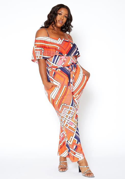 Asoph Plus Size Orange Abstract Print Off Shoulder Jumpsuit