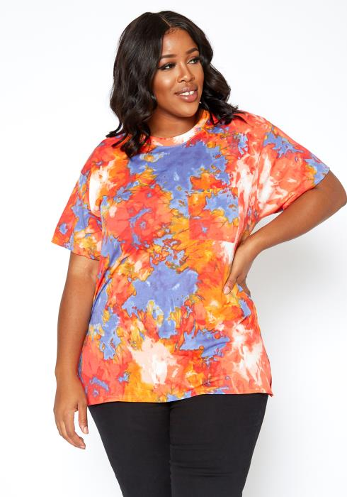 Asoph Plus Size Marvelous Tie Dye Classic Tee Shirt