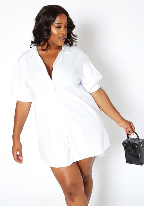 Asoph Plus Size Chic Open Collar Mini Shirt Dress