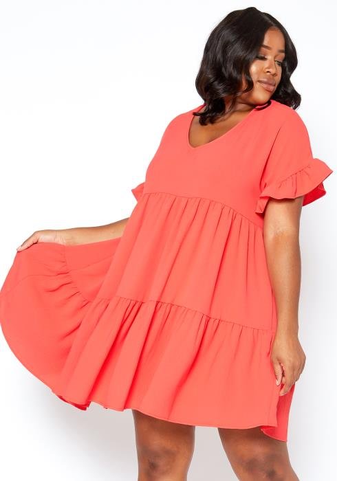 Asoph Plus Size Ruched Coral V Neck Fit & Flare Dress