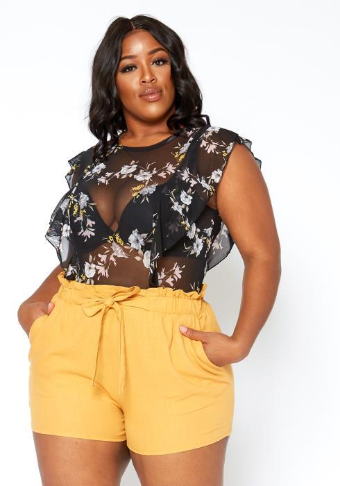 Asoph Plus Size Floral Print Sleeveless Mesh Bodysuit