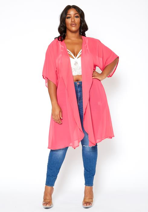 Asoph Plus Size Sheerly Pink Open Front Kimono Cardigan