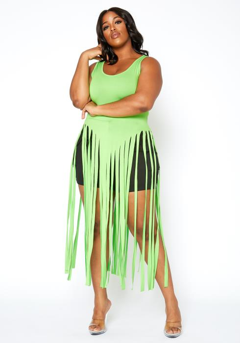 Asoph Plus Size Neon Green Fringe Cut Tank Top