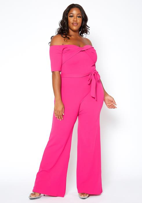 Asoph Plus Size Hot Pink Off Shoulder Party Jumpsuit