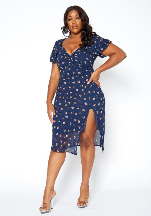 Asoph Plus Size Fresh Daisy Print Sweetheart Neck Midi Dress