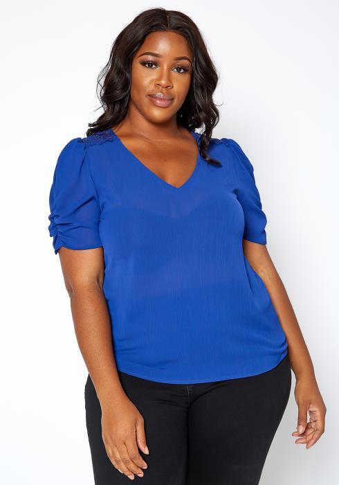 Asoph Plus Size V Neck Ruched Shoulder Blouse
