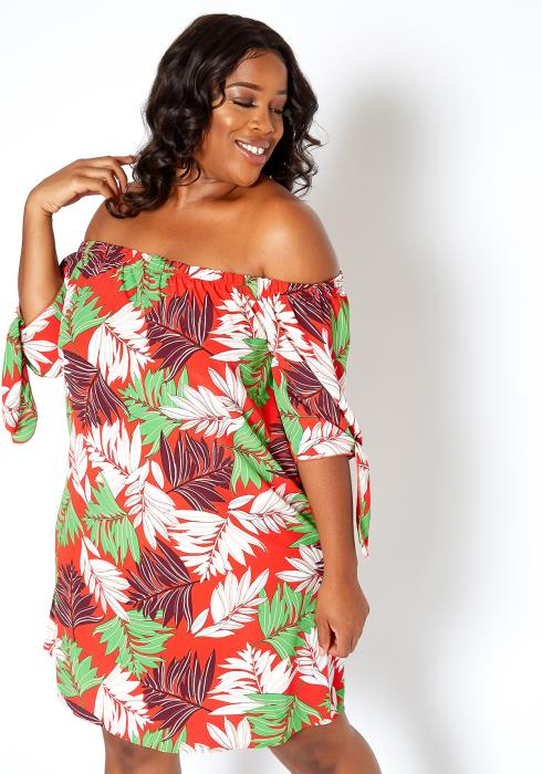 Asoph Plus Size Hawaiian Getaway Off Shoulder Mini Dress