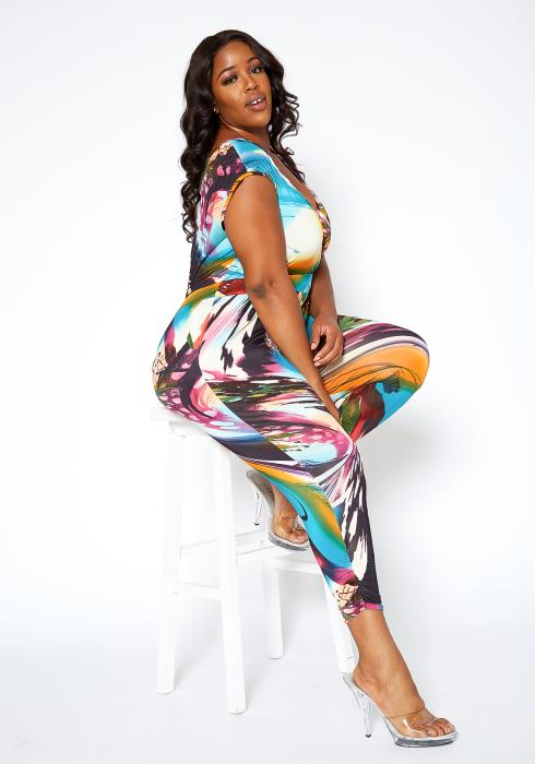 Asoph Plus Size Colorful Marbled Print Sleeveless Jumpsuit