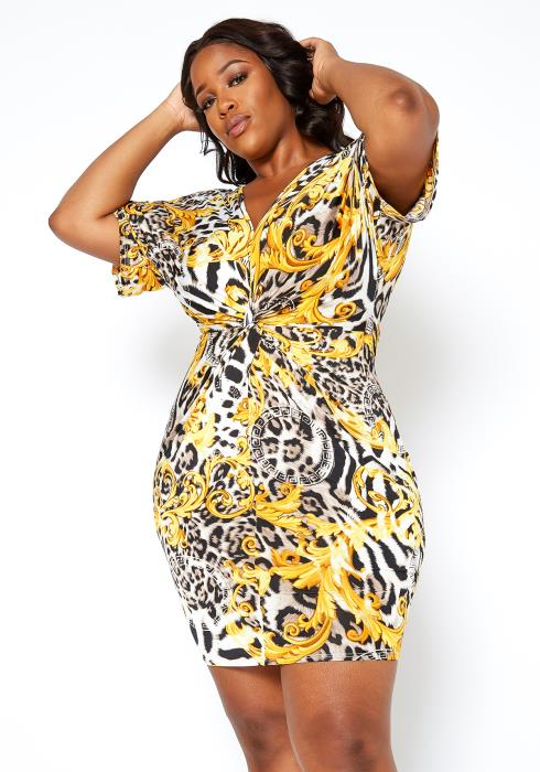 Asoph Plus Size Golden Safari Bodycon Mini Dress