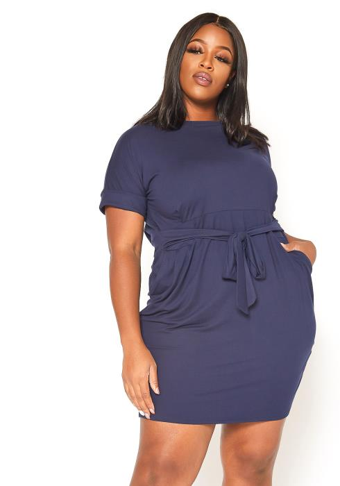 Asoph Plus Size Casual Waist Tie Bodycon Mini Dress