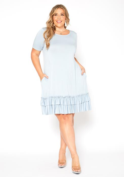 Asoph Plus Size Basic Tiered Ruffle End Navy Midi Dress