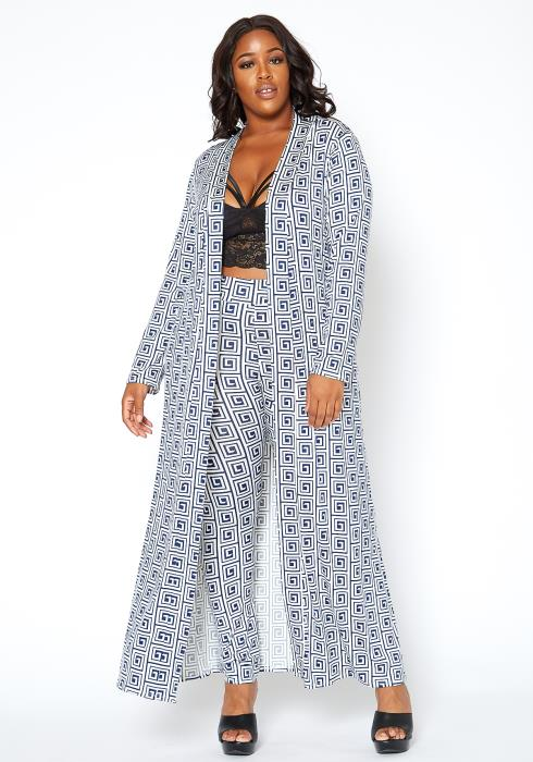 Asoph Plus Size Greek Key Print Leggings & Longline Cardigan Set
