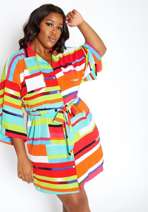 Asoph Plus Size Colorful Abstract Striped Collar Mini Dress