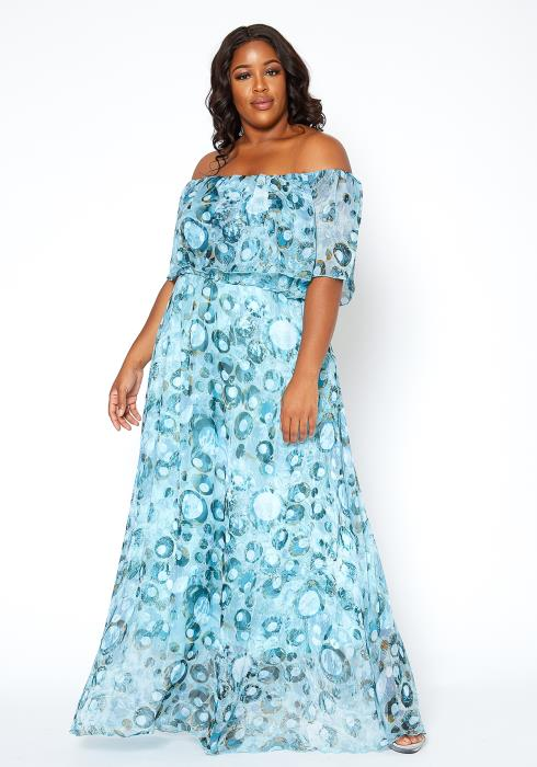 Asoph Plus Size Blue Bubble Print Off Shoulder Maxi Dress