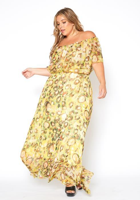 Asoph Plus Size Bubble Print Off Shoulder Maxi Dress