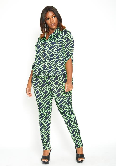 Asoph Plus Size Neon Greek Key Patterned Set