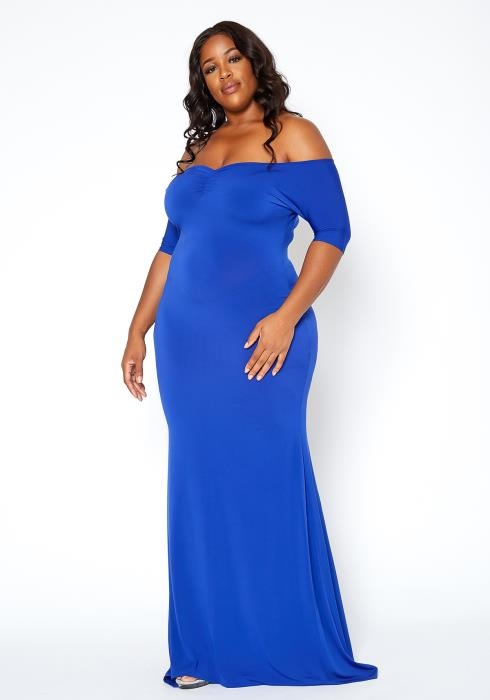 Asoph Plus Size Royal Blue Off Shoulder Mermaid Gown
