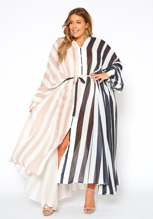 Asoph Plus Size Sheer Striped Maxi Dress