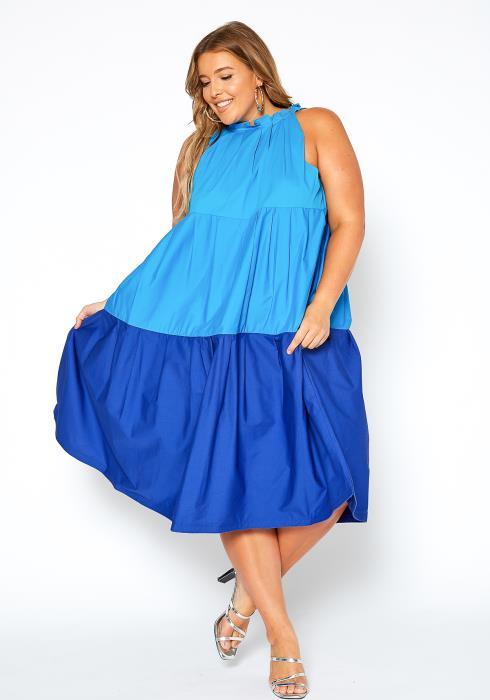 Asoph Plus Size Halter Neck Multi Blue Dress