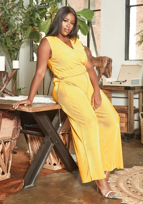 Asoph Plus Size Golden Yellow Pleated Straight Leg Jumpsuit