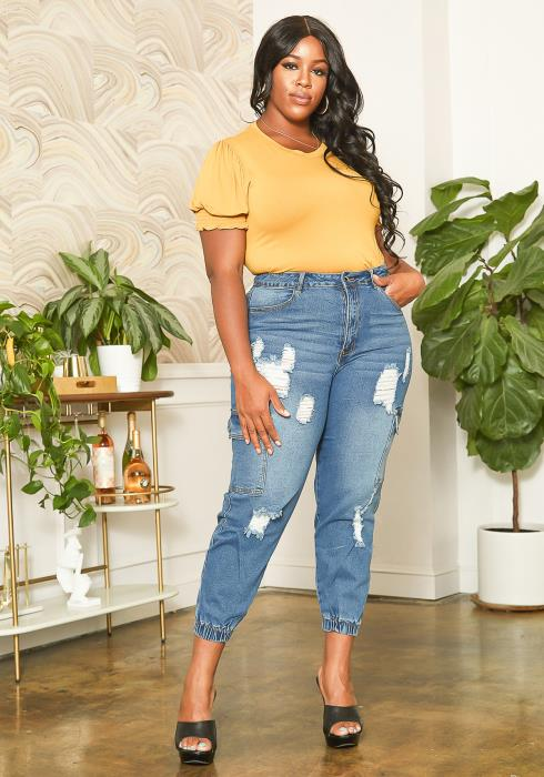 Asoph Plus Size Distressed Denim Cargo Mom Jeans