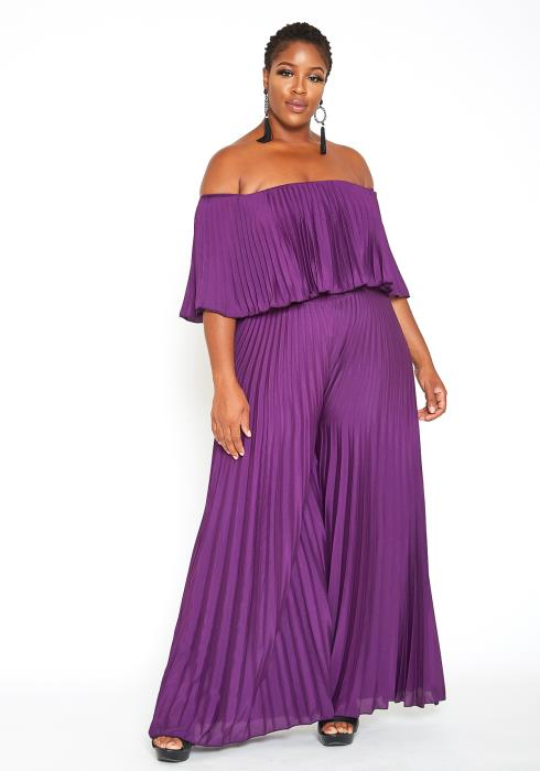 Asoph Plus Size High Class Off Shoulder Pleated Jumpsuit