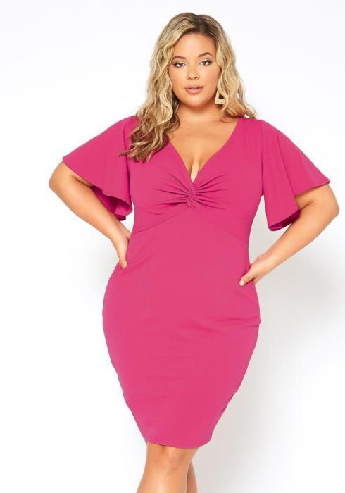 Asoph Plus Size Bell Sleeve Twist Front Dress