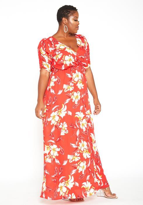 Asoph Plus Size Floral Summer Beach Maxi Dress