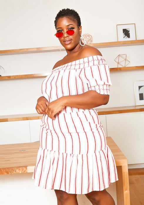 Asoph Plus Size Off Shoulder Red Striped Midi Dress