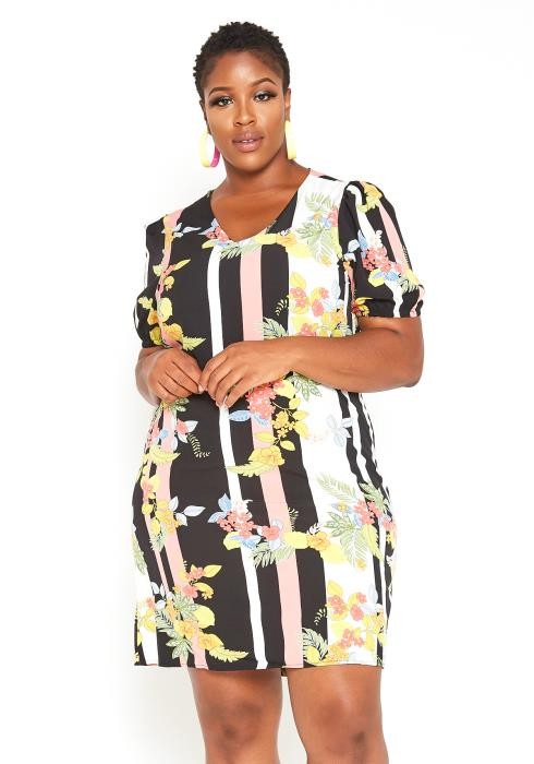 Asoph Plus Size Stripe Floral Mix Mini Dress