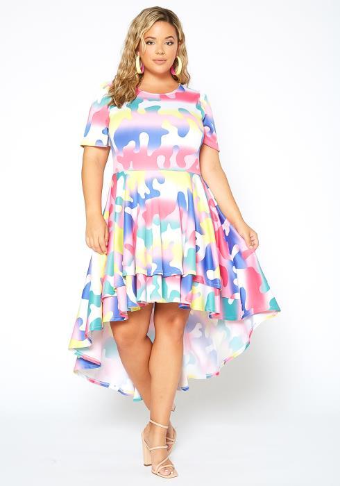 Asoph Plus Size Color Pop Puzzle Print High Low Flare Dress