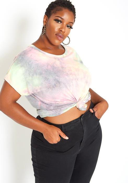 Asoph Plus Size Tie Dye Open Back Tee Shirt