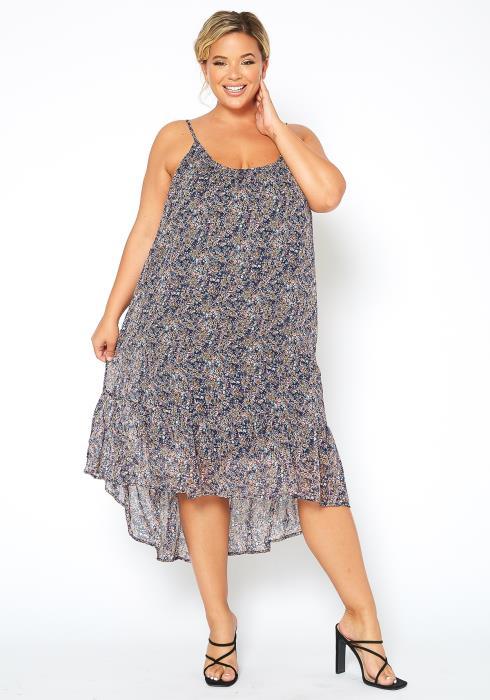 Asoph Plus Size Vintage Floral Print Cami Midi Dress