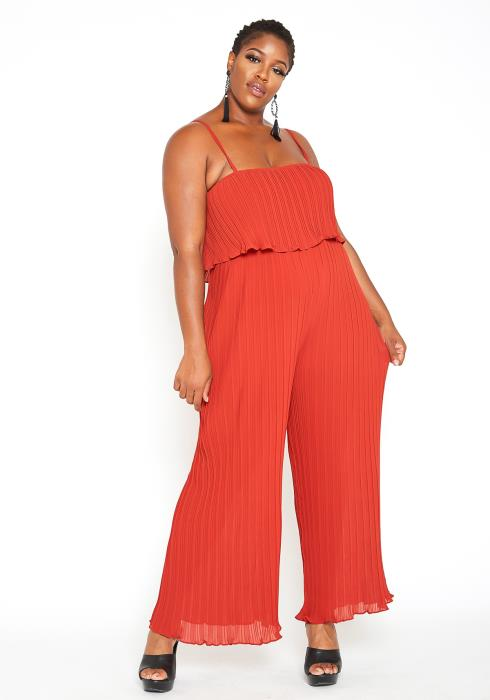 Asoph Plus Size Overlay Pleated Jumpsuit