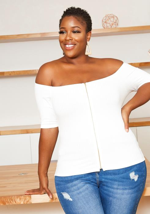 Asoph Plus Size Off Shoulder Ribbed Zipper Front Top
