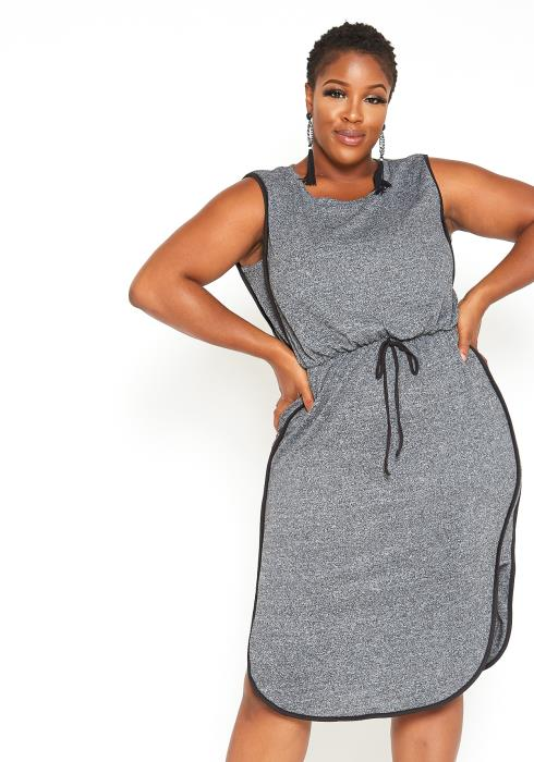 Asoph Plus Size Sleeveless Drawstring Shift Midi Dress