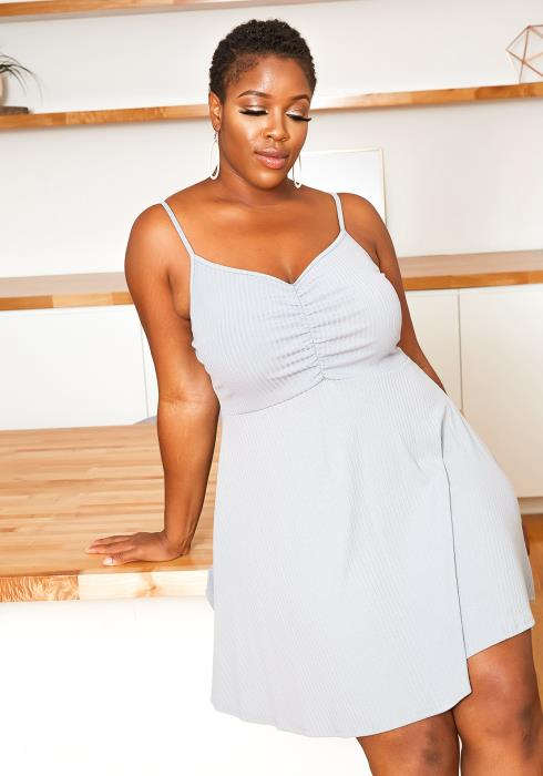 Asoph Plus Size Basic Ribbed Cami Fit & Flare Mini Dress