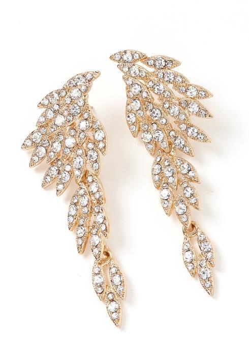Estonia Golden Silver Crystal Wing Drop Earrings