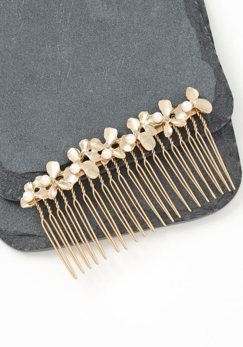 Julia Matte Golden Floral Hair Pin