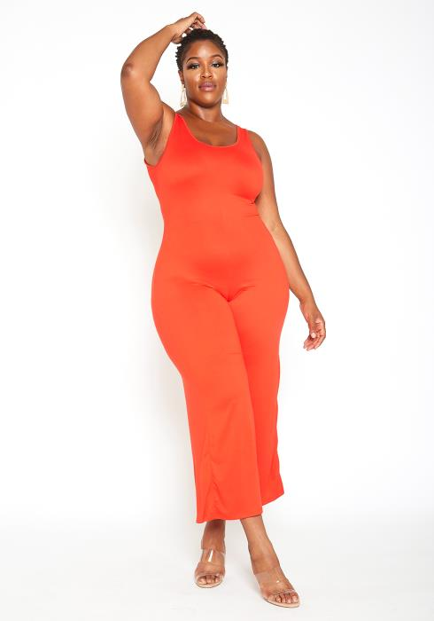 Asoph Plus Size Basic Orange Tank Jumpsuit