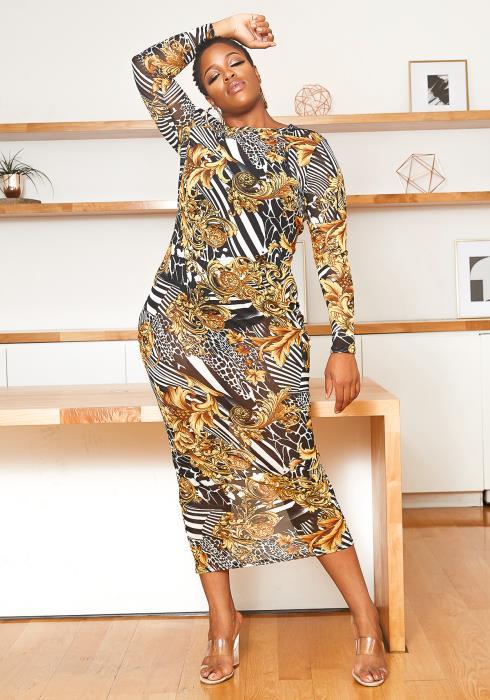 Asoph Plus Size Golden Era Mesh Bodycon Maxi Dress