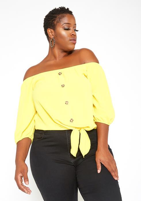 Asoph Plus Size Off Shoulder Button Hem Yellow Top