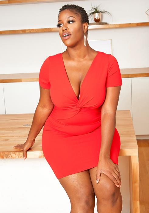Asoph Plus Size Red Twist Design Bodycon Mini Dress