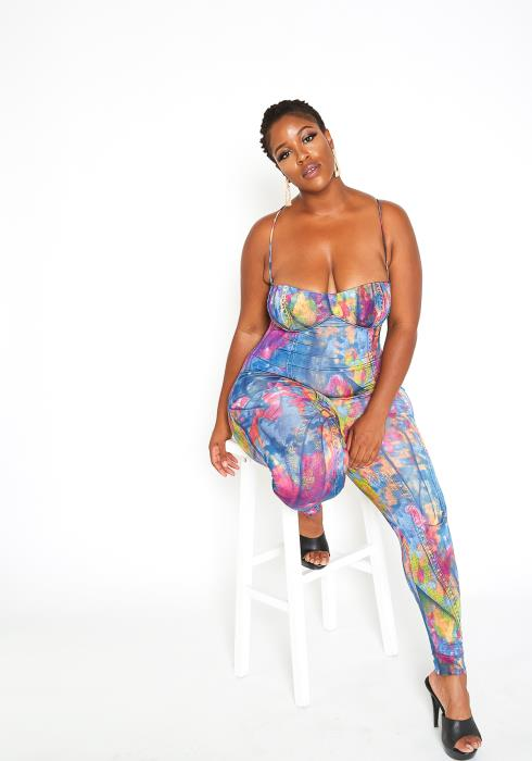Asoph Plus Size Color Spill Denim Print Cami Fitted Jumpsuit