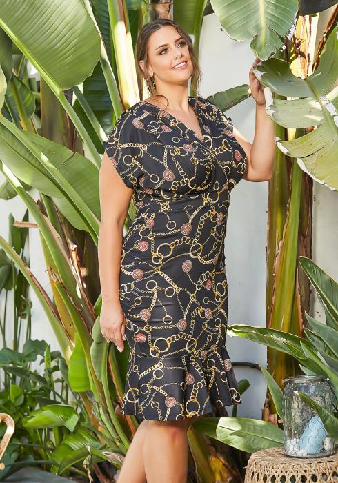Asoph Plus Size Chain Link Print Flare End Midi Dress