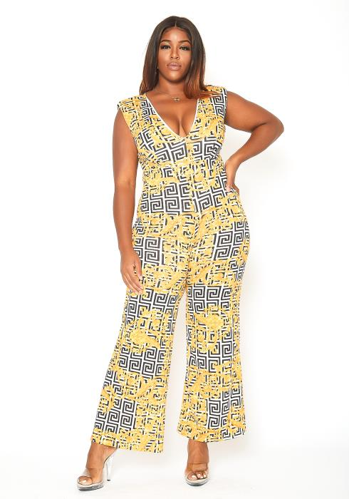 Asoph Plus Size Greek Key Print Flare Leg Jumpsuit