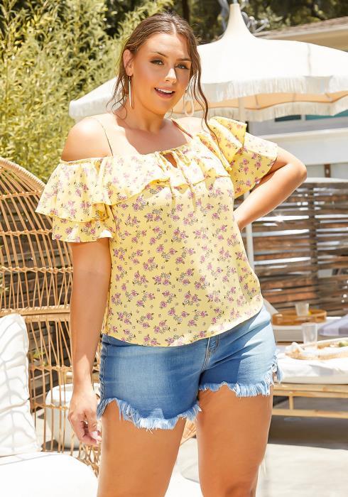 Asoph Plus Size Yellow Floral Print Off Shoulder Blouse