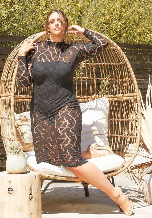 Asoph Plus Size Animal Print Mesh Midi Dress