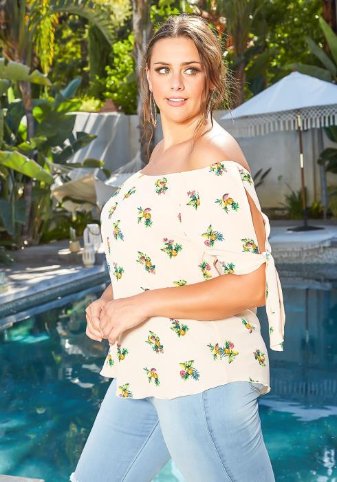 Asoph Plus Size Fruity Bouquet Print Off Shoulder Blouse
